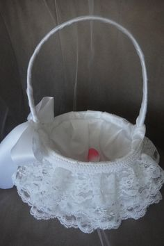 Adorable lace flower girl basket. 3 layers of lace, with silk and satin. $39.99