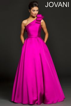 One shoulder taffeta gown 98249 - Evening Dresses -Jovani (Style of Dress)