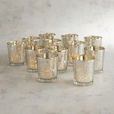 Pier 1 Imports Silver Mercury Votive Candle Holder Set of 12 Mercury Glass Candle Holders, Gold Candle Holders, Gold Candles, Candle Set, Votive Candles, Star Wars Wedding, Vase Centerpieces, Wedding Centerpieces, Vases