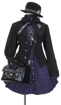 Purple shirt and black coat