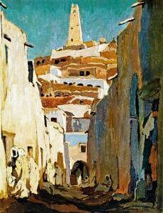 Algérie - Peintre Néerlandais,   VAN MENS Isidore (1890-1985 ), huile sur toile, 1926, Titre :Rue à Ghardaïa