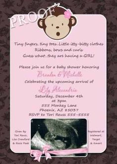 babyshower themes monkeys | girl baby shower invitation monkey pink baby boutique baby shower