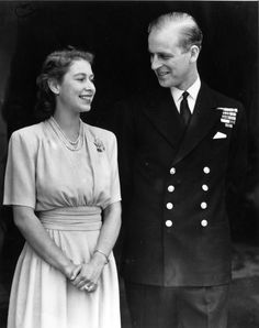 The first official picture of Philip and Elizabeth after their engagement in 1947.