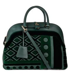 Burberry Prorsum Fall 2014 velvet and leather bowling bag.
