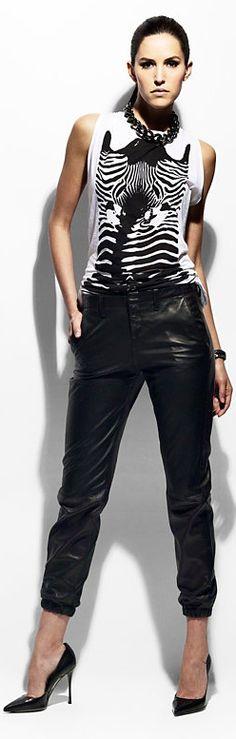 Rag & Bone Leather Pants and Zebra Shirt | The House of Beccaria#