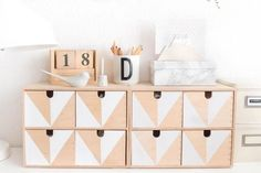 Ikea mini drawers (Moppe) are really handy but as they come unfinished they are perfect for hacking. Here I show you 20 of the best Ikea mini drawers hacks. Retro Furniture, Ikea Furniture, Unique Furniture, Home Decor Furniture, Furniture Ideas, Furniture Websites, Furniture Removal, Furniture Stores, Luxury Furniture
