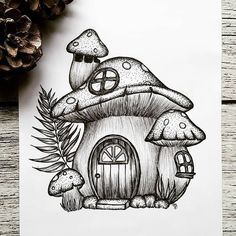 Today's Illustration is inspired by The mushroom house is my favorite drawing from Carmen.… - Today's Illustration is inspired by The mushroom house is my favorite drawing from Carmen. Small Drawings, Art Drawings Sketches Simple, Pencil Art Drawings, Cute Drawings, Tattoo Drawings, Drawing Art, Images Of Drawings, Drawing Tips, Best Drawing