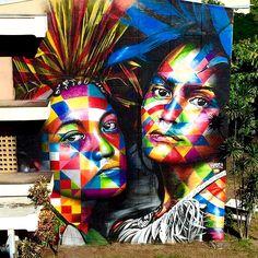 The Kaleidoscope Street Art Portraits of Eduardo Kobra Photos) 3d Street Art, Kobra Street Art, Street Art News, Amazing Street Art, Street Artists, Amazing Art, Graffiti Art, Love Graffiti, Stencil Graffiti
