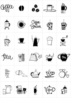 Coffee and Tea Doodles is a font of coffee and tea things-- beans, cups, drinks, tea bag, iced tea, tea sets etc. Perfect set of clip art for coffee or tea shop menus, ads, invitations, etc. Includes scripted words that include coffee, tea, coffee break and tea for 2.