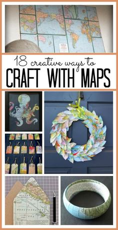 Crafts with Maps - Sugar Bee Crafts I have always loved looking at map crafts! I love the colors and lines of maps. They seem to illustrate some cool adven Map Crafts, Travel Crafts, Book Crafts, Crafts To Sell, Diy And Crafts, Arts And Crafts, Crafts With Maps, Globe Crafts, Crafts Cheap