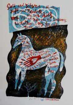 'White Horse' by British artist & printmaker Jonny Hannah. Screenprint, edition of via Hornseys Chalk Hill, Art Therapy Projects, Royal College Of Art, White Horses, Naive Art, Print Logo, Painting & Drawing, Printmaking, Screen Printing