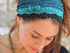 Две Кнопки-Бирюзовый Оголовье tichel,Волосы поводка, головной Платок,головной убор,еврейской headcovering,Шарфы,Банданы,фартуки