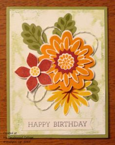 handmade birthday card fro My Tanglewood Cottage ... montage of layered flowers in Fall colors ...  Flower Patch ... Stampin' Up!