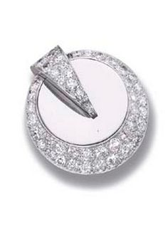 AN ART DECO DIAMOND CLIP BROOCH, BY RENE BOIVIN  The polished circle with a pavé-set diamond border and triangular divide, circa 1930, 3.3 cm. diameter, with French assay marks for platinum and gold Signed René Boivin