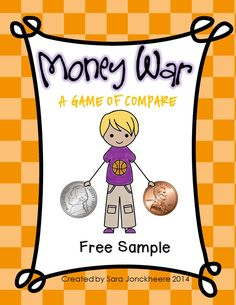 {FREEBIE} Money War Game to practice comparing different amounts of money.  Includes quarters, dimes, nickels, & pennies.  45 cards ready to print, cut and laminate.