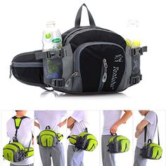 Cocoly Multifunctional Waterproof Waist Pack with Water Bottle Holder Sports Waist Bag Backpack for Running Hiking Cycling Climbing Camping Travel ** Click on the image for additional details.