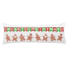 Merry #Christmas #Gingerbread Men Body #Pillow
