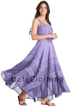 Lavender Blue Riona Bustier Corset Empire Gypsy Peasant Boho Maxi Sun Dress - Purple - Shop by Color - Dresses