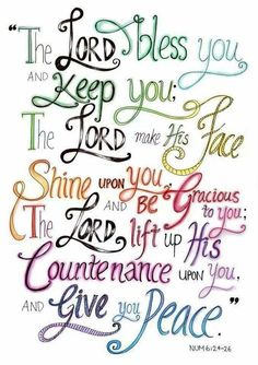 Bible Verses - Numbers - The Aaronic Blessing. I have written this in the front of my Bible because these words are so sweet to me. He is faithful! Scripture Verses, Bible Verses Quotes, Bible Scriptures, Faith Quotes, Scripture Lettering, Healing Scriptures, Healing Quotes, Heart Quotes, The Words
