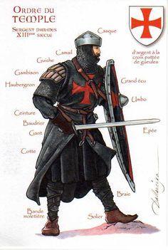 1200 - 1299 Sargento templario. Cruz roja sobre vestidos negros.