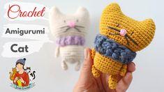 Crochet Cat For Absolute Beginners / Seamless Amigurumi Crochet Dolls, Crochet Hats, Blanket Crochet, Make It Yourself, Stitch, Knitting, Cats, Pattern, How To Make