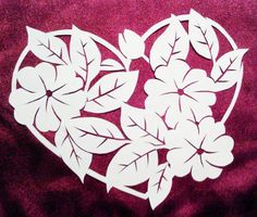 cut paper design Flower Heart