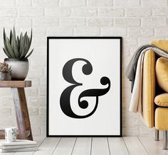 Ampersand Printable Art Poster, Ampersand Sign, Typography Wall Decor, Ampersand Wall Art Printable, Ampersand Decor *INSTANT DOWNLOAD* Quote Wall, Wall Art Quotes, Printing Websites, Online Printing, Ampersand Sign, Letter Wall Art, Punctuation, Printable Wall Art, Claire