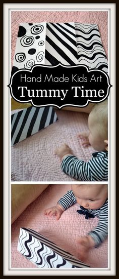 Tummy Time Art This one is for all the babies that were just born this past month. I know quite a few! High contrast patterns are suppose to help develop an infant's eye sight. This is why many baby toys come in black and white patterns. You can make your own with a piece of …