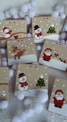 Bucilla Dropping In ~ 6 Pce. Ceramic Christmas Decorations, Felt Christmas Ornaments, Handmade Christmas, Decor Crafts, Holiday Crafts, Diy And Crafts, Crafts For Kids, Polymer Clay Christmas, Polymer Clay Ornaments