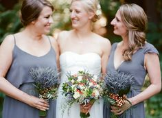 Aren't these bridesmaid dresses from Bella Bridesmaid the perfect shade of gray? Photo: Erin Hearts Court / Event Planning & Design: Emily de Ayora of Downey St Events | Snippet & Ink