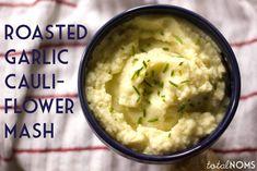 Thanksgiving Side Dish: Roasted Garlic Cauliflower Mash - Total Noms www.totalnoms.com #thanksgiving
