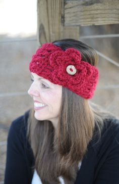 CHUNKY CROCHETED HEADBAND with flower and button  by NonniesKnots, $22.99