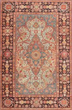 Antique persian Mohtashem Kashan carpet.