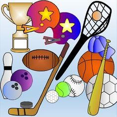 Looking for interesting sports graphics ... then I think this package is just what you are looking for!I have created colorful clipart as follows:BasketballGolf ballSoccer ball (football)Lacrosse stick with ballBowling pin and 2 ballsFootball (rugby ball)Helmets (2)Baseball batBaseball capBaseballHockey StickHockey PuckTennis BallTrophyI think I've covered most of the big sports!!Included:Look at the preview ...