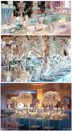 Tiffany Blue Wedding center pieces bottom table pic....waaaay too much on the table....although it is pretty :).