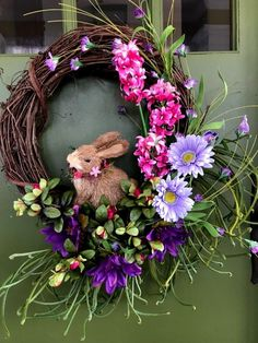 Beautifully Elegant Bunny in a Floral Garden grapevine Wreath for Front door