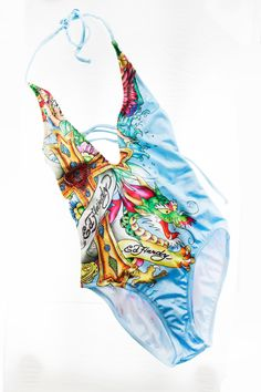 Ed Hardy Bright Multi Colored Cut Out One Piece with Rhinestone Logo and Detailing Size:Small NEW