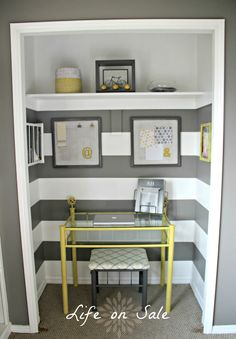 Beautiful Office Inspiration Fantastic Top Glass Laptop Office Desk With Yellow Iron Base Added Floating Shelves In Small Grey Striped Wall Painted Color Closet Office Designs Ideas Smartly Closet Turned Offic Mini Office Design Ideas-Decoration, Interior, Office-Mini Office Design Ideas