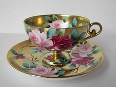 Old Noritake 1891 Beautifully elegant floral patterned teacup and saucer with gold: