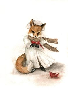 Woodland Fox with Red Bird, Winter Holiday, Archival Print from Watercolor