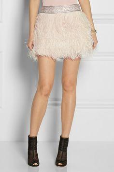 YES PLEASE!! BALMAIN Embellished feather skirt