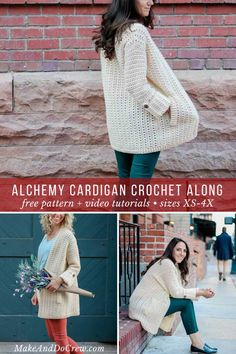 Learn how to a crochet a modern, lightweight cardigan in this four part crochet along. Follow along with the free pattern and video tutorial to master some new skills and make a sweater you're proud of! You'll love the cuffed sleeves, pockets and wooden buttons. #crochet #crochetalong #cardigan #sweater #buttons #cuffed #Sleeves #makeanddocrew #pockets #summer #spring #video #tutorial #lionbrand #yarn #lovecrochet