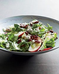 Escarole Salad with Apples, Blue Cheese and Pecans Recipe on Food & Wine - This classic salad features fall flavors dressed with a light and tangy mustard-shallot vinaigrette.