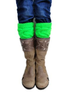 NEON Cable Knitted Boot Cuffs. 6 Different shades. by VividBear