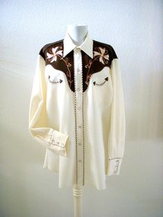 7a70582c78b38 Vintage 70s H Bar C Mens Western Shirt Ivory and by OmAgainVintage