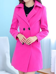 New Casual Band Collar Long Sleeve Blended  Trench-coat Trench Coats from fashionmia.com