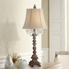 """$100 sale 34"""" high. Shade measures 9"""" across the top, 14"""" across the bottom, 10 3/4"""" on the slant. Duval Gold Crystal Candlestick Table Lamp - Amazon"""