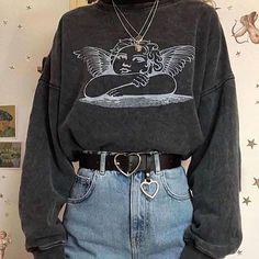 Raphael's Angel Sweatshirt - - soft grunge Angel Sweatshirt Source by boogzel Aesthetic Grunge Outfit, Aesthetic Fashion, Look Fashion, Aesthetic Clothes, Aesthetic Vintage, Korean Fashion, Vintage Outfits, Retro Outfits, Cute Casual Outfits