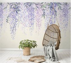 "Purple Wisteria Wallpaper Purple Vines Art Watercolor Lavender Flower Wall Mural Lilac Ivory Floral Large Print Wall Decor 55.5"" x 35"""