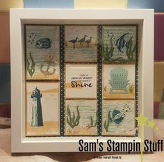 Stampin Up High Tide, colorful seasons and seaside sampler Box Frame Art, Shadow Box Frames, Picture Boxes, Picture Frames, Button Art On Canvas, 3d Paper Crafts, Scrapbooking, Scrapbook Cards, Collage Frames